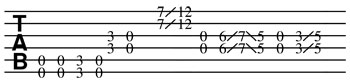 open c tuning guitar tab